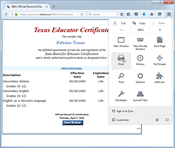 how do i print a copy of my certification? – welcome to the tea help